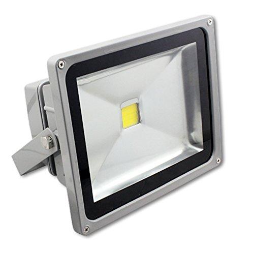 MCTECH Grau 50W Warmweiß 2500~3000K LED Fluter Lampe Strahler Scheinwerfer Licht Wasserdicht IP65 4500-5000 Lumen 230V Aluminium Warmweiß