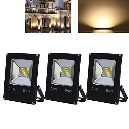 VINGO 3X 20W LED Fluter Warmweiß 230V Flutlicht Aussen Baustrahler IP65 LED Spot Strahler Wasserdicht 1600LM Leuchtmittel