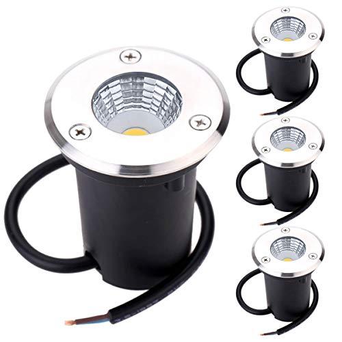 B-right 4er LED Bodeneinbaustrahler 3W Bodeneinbauleuchte für Außen Bodenlampe Außen rostfrei befahrbar bis zu 800 kg belastbar 12V-24V DC Einbau Durchmesser 58 cm Edelstahl rund warmweiß