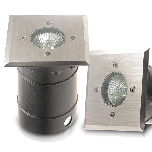IP67 Bodeneinbaustrahler TIERRA 1 PLUS eckigquadratisch geeignet für LED und Halogen Leuchtmittel GU10 jederzeit austauschbar 230V Einbaustrahler Wegeleuchte Garten außen ohne Leuchtmittel
