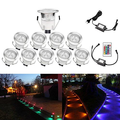 QACA 10er LED Einbauleuchten Bodeneinbaustrahler RGB Deckenspot Einbaustrahler Deckenleuchte Wasserdicht IP67 Einbaulampe 01W~03W Ø30mm Außenleuchten für Küche Garten Treppen Balkon Terrasse