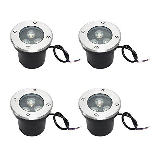 Signstek 4 Stk 3W Warmweiß IP65 LED Bodeneinbaustrahler mit Stalin-Linse Edelstahlgehäuse und Aluminiumschale für Landschaftsbeleuchtung