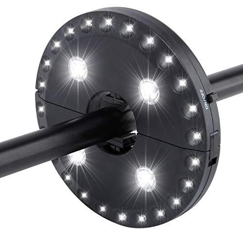 28 LED Schirmleuchte 3 Modi dimmbar Sonnenschirm Lampe Schirmlicht Regenschirme Zelt Licht Beleuchtung Nachtlicht Weißes Licht für Camping Garten Outdoor Schwarz