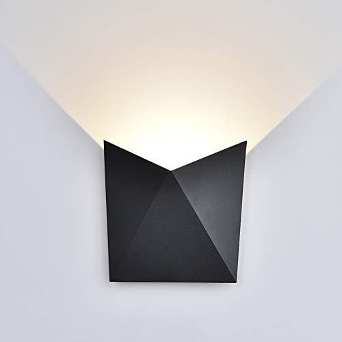K-Bright LED Wandleuchten7W Aluminium Modern Wand LampeWandbeleuchtungWasserdicht IP 54 Innenaußen LED Wand-Leuchte für innen und außenWohnzimmerSchlafzimmer3000K warm weißSchwarz Schale