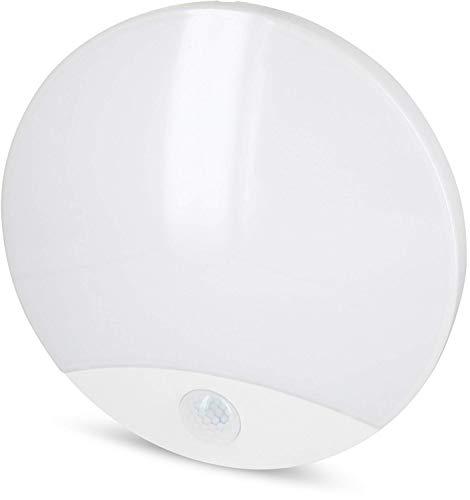LED Slim Wandleuchte IP44 10W - Feuchtraum geeignet - mit Bewegungsmelder  Dämmerungssensor - eingebauter LED Trafo - warmweiß 3000 K