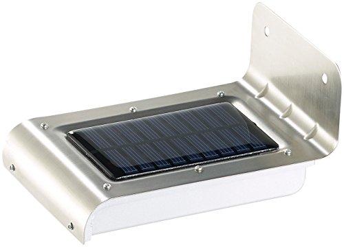 Luminea Solar-Wand-LED-Leuchte Edelstahl-LED-Solar-Wandleuchte Licht- Bewegungssensor 48 lm 05W Haustürleuchten