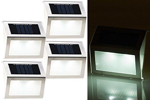 Lunartec Wandleuchten 4er-Set Solar-LED-Wand- Treppen-Leuchten für außen Edelstahl 20 lm Solar Wandleuchten