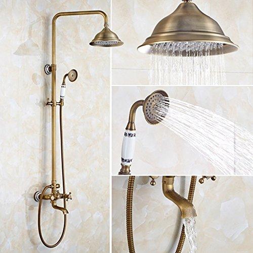 Dusche Wasserhahn ZQG Antiken Dusche Set Europäischen Stil Kupfer Badezimmer Retro Bad Aufzug Dusche Duschkopf