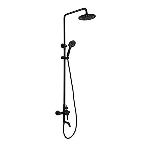Dusche Wasserhahn ZQG zeitgenössische Schwarze Farbe Finish Drei Löcher einhändig Separate Dusche Wasserfall
