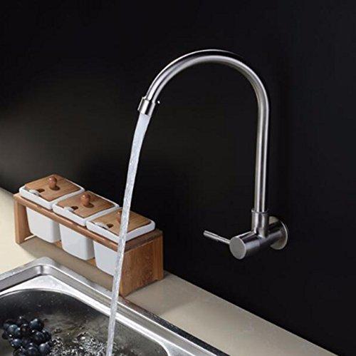 Bleifrei Wand 304 Edelstahl Küche Wasserhahn 4 Punkte Universal 12 Horizontal Single Kalt Wasserhahn