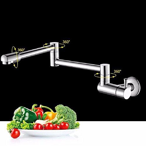 in-Wand Küche Spüle Einzelne Kälte Wasserhahn Vollkupfer versenkbar rotierende Stretch-Falten Lange Spüle Wasserhahn