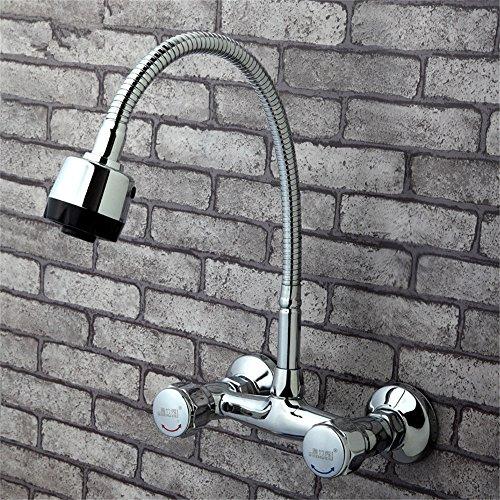 in-Wand Küche heiß und Kalt Wasserhahn Doppelgriff Waschbecken Waschbecken Wasserhahn Waschmaschine Wasserhahn Mischventil Balkon Wasserhahn Keramikventil Spule C