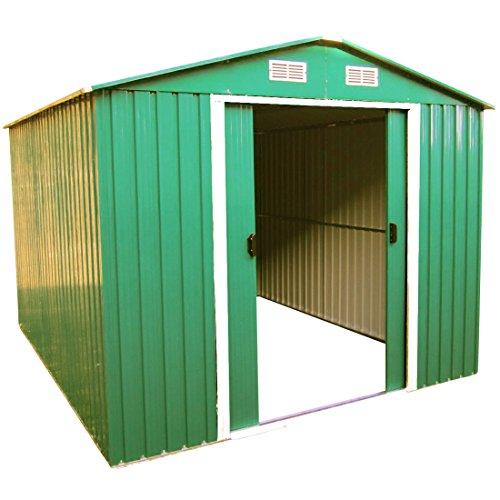 ASS Geräteschuppen Gartenhaus Gerätehaus Metallgerätehaus 11m² 3x365m aus verzinktem Stahlblech Metall Grün von