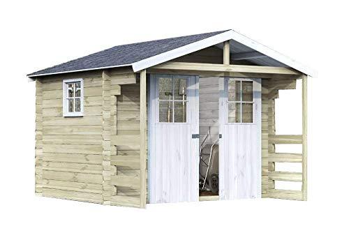 Alpholz Gerätehaus Lier aus Fichten-Holz 300 x 240cm  Gartenhaus klein inkl Dachpappe  Geräteschuppen naturbelassen ohne Farbbehandlung