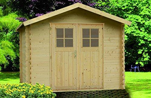 Alpholz Gerätehaus MONS aus Fichten-Holz  Gartenhaus inkl Dachpappe  Geräteschuppen naturbelassen ohne Farbbehandlung 270 x 270cm