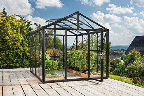 Gartenwelt Riegelsberger Gewächshaus Zeus - Ausführung 8100 Kombi ESG 4 mm und HKP 10 mm schwarz Fläche ca 81 m² mit 2 Dachfenster Fundamentmaß 266 x 324 m
