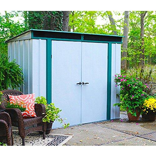 Arrow Metall-Gerätehaus Euro-Lite 84 Gartenhaus Schuppen 30 m² altweiss-grün