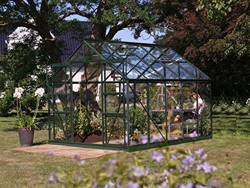 Gartenwelt Riegelsberger Gewächshaus Uranus - Ausführung 8300 ESG 3 mm dunkelgrün Fläche ca 83 m² mit 4 Dachfenster Sockel 254 x 317 m
