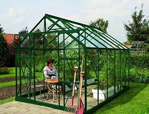 Gartenwelt Riegelsberger Gewächshaus Uranus - Ausführung 9900 ESG 3 mm dunkelgrün Fläche ca 99 m² mit 4 Dachfenster Sockel 254 x 379 m