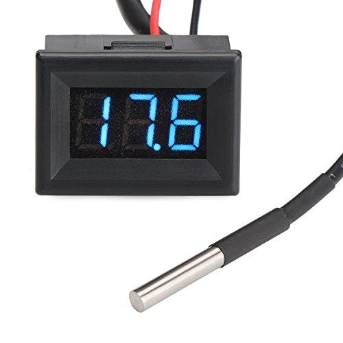 Digital-Thermometer Elektronische Temperaturüberwachung -55-125 ℃ Grüne LED-Anzeige mit DS18B20 Wasserdichtes Temperaturfühler 3 m langes Sensorkabel für Kühlschrank  Lab  Wand  Pool  Baby-Bad-Wasser  Körpertemperatur  innen außen Nutzung