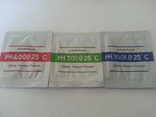 Pulver zur Herstellung von je 250ml Kalibrierflüssigkeit für PH Messgeräte mit pH 400 pH 700 und pH 1001 Wassertester pH-Wert Prüfer Schwimmbad Pool Aquarium Gartenteich