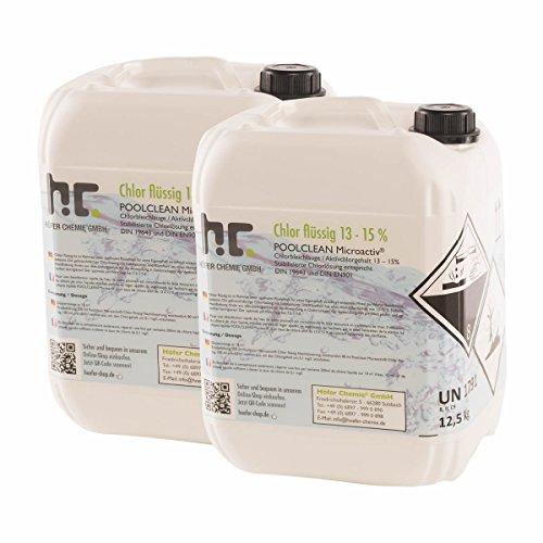 2 x 125 kg Chlor flüssig - mit 13 bis 15  Aktivchlorgehalt - Wasserdesinfektion für Pools - VERSANDKOSTENFREI