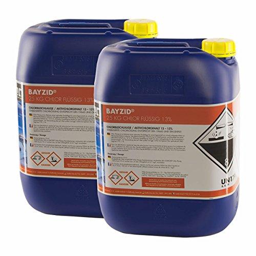 Höfer Chemie 4 x 25 kg Chlor flüssig - mit 13 bis 15 Aktivchlorgehalt - Wasserdesinfektion für Pools
