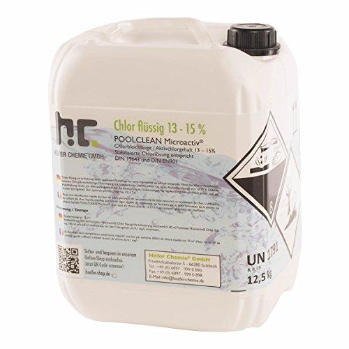 Höfer Chemie Chlor Flüssig 1 x 125 kg - Pool Flüssigchlor mit 13 bis 15 Aktivchlorgehalt zur Poolpflege und Wasserdesinfektion - Made in Germany