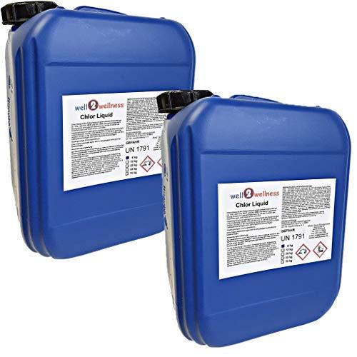 well2wellness Chlor flüssig stabilisiertstabilisierte Chlorbleichlauge - 2 x 6 kg Kanister