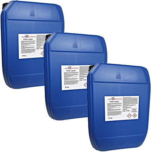 well2wellness Chlor flüssig stabilisiertstabilisierte Chlorbleichlauge - 3 x 25 kg Kanister