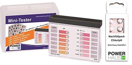 POWERHAUS24 - Pooltester ChlorpH mit 100 Tabletten je 50 x DPD1 und je 50 x Phenol Red