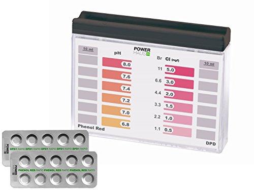 POWERHAUS24 - Wassertester Pooltester für pH-Wert und freies Chlor mit 20 Tabletten