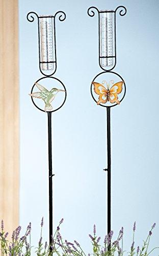 Gilde 1 x Gartenstecker Regenmesser Metall m Vogel o Schmetterling Höhe 128 cm Gartendeko Vogel Stückpreis