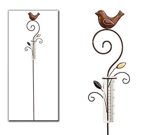 Regenmesser Metall  Gartenstecker Gartendeko Rostoptik mit Vogel