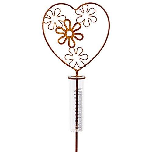 Regenmesser Metall Glas Gartenstecker Garten-Deko Herz Blumen Von Haus der Herzen