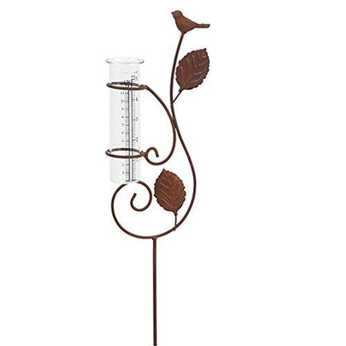 Regenmesser Metall Glas Gartenstecker Gartendeko Garten-Stab mit Vogel und Blätter in Rost-Optik Von Haus der Herzen
