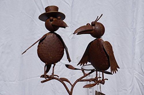 Regenmesser Vogelpaar Metall Gartendekoration Gartenstecker Vogelhochzeit