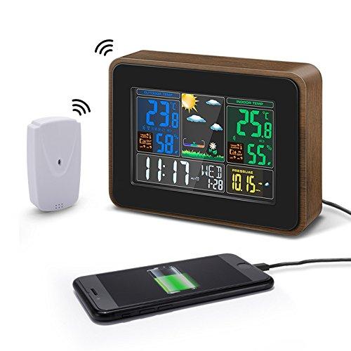 DIGOO DG-TH8878 Holzmaserung Farbe Wireless Wetterstation Indoor Outdoor Hygrometer Thermometer Wettervorhersage mit USB-Ladeausgang Sprachsteuerung Farbbildschirm Dual-Wecker