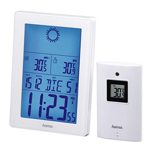 Hama Funk Wetterstation mit Außensensor EWS-3100 mit Funkuhr Wecker Thermometer Barometer Wettervorhersage 50 m Reichweite weiß