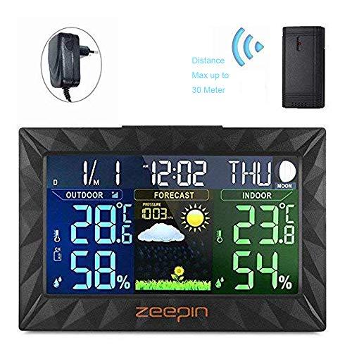 ZEEPIN Funkwetterstation mit LCD Farbdisplay inkl Außensensor Temperatur Luftfeuchtigkeitsanzeige  Datumsanzeige Wettervorhersage-PiktogrammTendenzanzeige  Wecker Wetterstation