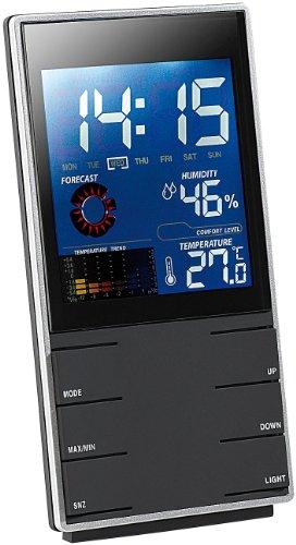 infactory Portable Design-Wetterstation mit Wettervorhersage Wecker