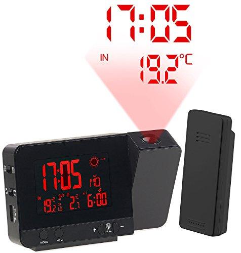 infactory Projektor Uhr Funk-Wetterstation mit Projektions-Wecker Außensensor USB schwarz Projektionsuhren