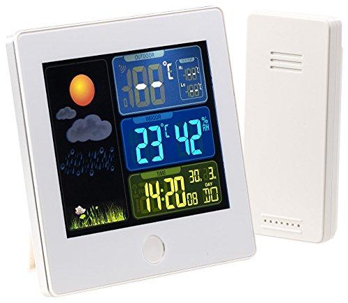 infactory Thermometer Funk-Wetterstation mit Außensensor Farbdisplay Funkuhr Wecker weiß Wetterstationen mit Farb Displays