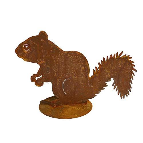 EQT-TEC Süße Gartendekoration Eichhörnchen Edelrost Figuren Natur Tier Garten Deko Dekoration Draußen