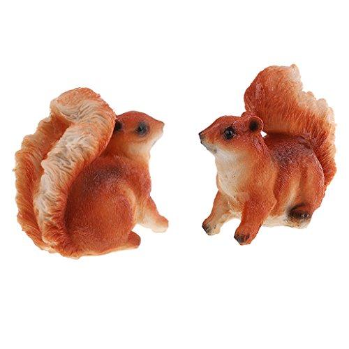 Fenteer Deko Figuren Eichhörnchen aus Harz für Den Garten – 2 Stück