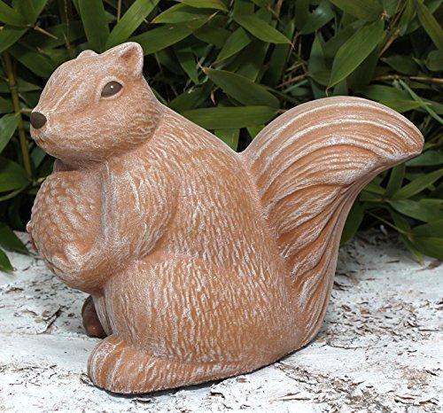 Steinfigur Eichhörnchen - Terrakotta Deko Figur Garten Stein Frostsicher