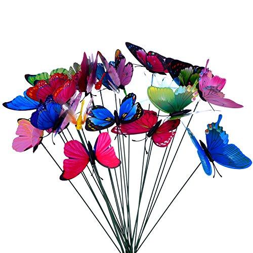 24 Stück Bunte Garten Schmetterlinge Libellen Patio Ornamente auf Stöcke für Pflanzendekoration Outdoor Hof Garten Dekoration