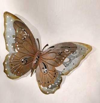 Unbekannt Gartendeko aus Metall Schmetterling aus Metall in Trendiger Rostoptik Außendeko aus Metall Deko-Schmetterling für den Außenbereich