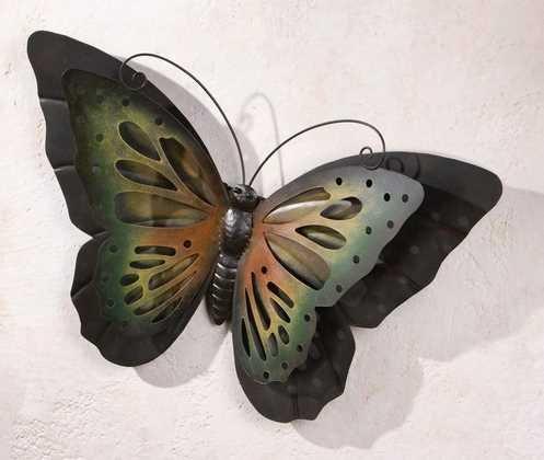 bb10 Schmuck Gartendeko aus Metall Schmetterling aus Metall in matt schwarz 51 cm groß Außendeko aus Metall Deko-Schmetterling für den Außenbereich