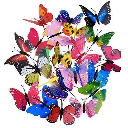 20 Stück Garten Schmetterlinge Stangen und 4 Stück Libellen Stangen Garten Ornamente für Hof Patio Party Dekorationen Insgesamt 24 Stück